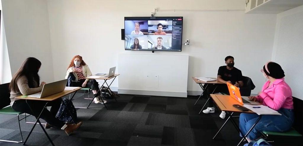 Students in an AV enhanced room